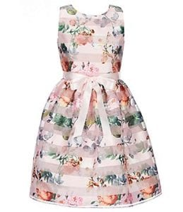 Fun patterned flower girl dress with floral design