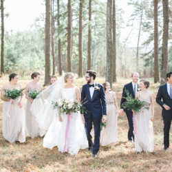 Bride and groom with bridal party for their Belmont North Carolina Wedding coordinated by Magnificent Moments Weddings