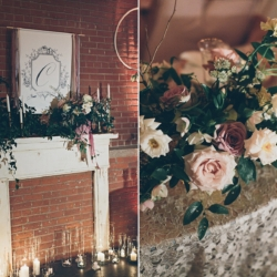 Detail shots of mantle designed by Blooming Branch Creative and bridal bouquet created by Jimmy Blooms