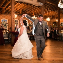 Bride and groom shag dancing for first dance