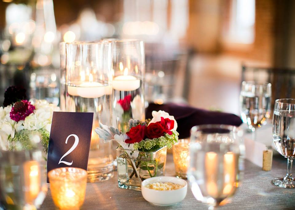 candlelight and bud vase centerpiece