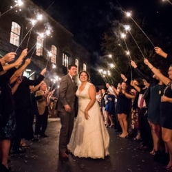 Magnificent Moments Weddings sparkler exit at Melrose Knitting Mill in Raleigh North Carolina