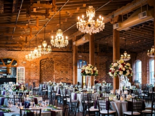 Magnificent Moments Weddings designed fall wedding at Melrose Knitting Mill in Raleigh North Carolina.