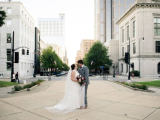 Magnificent Moments Weddings Bride and Groom formal photos in downtown Raleigh