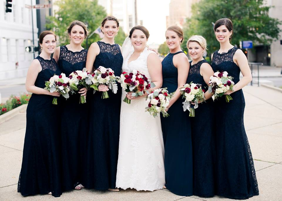 Bride and bridesmaids in downtown Raleigh