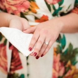 Bride holding her Chi Omega handkerchief