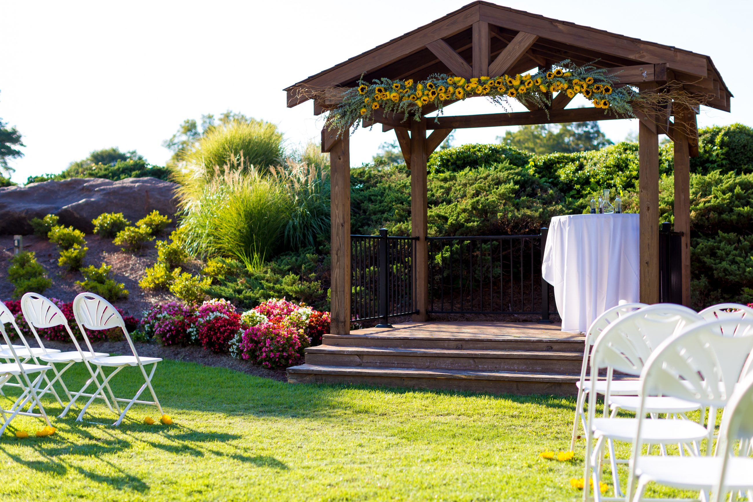 Gorgeous ceremony set up at Firethorne Country Club in Marvin, NC