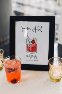 Signature cocktails at a Founders Hall wedding coordinated by Magnificent Moments Weddings