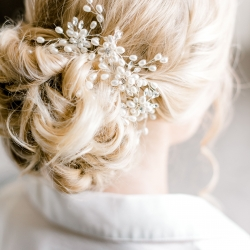 Hello Gorgeous created a stunning updo for a summer wedding at Firethorne Country Club just outside of Charlotte, North Carolina