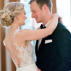 Bride and groom share a first dance to music provided by Split Second Sound captured by Alyssa Frost Photography