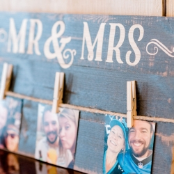 Custom decor items of a sweet couple made the reception space at Stony Mountain Vineyards feel intimate