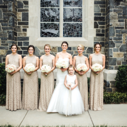 Bridal party photo showcasing gold bridesmaids dresses with sequin details