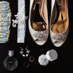 Bridal detail show showcasing embellished bridal shows and garters for for Charlotte North Carolina Wedding