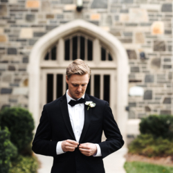 Detail show of groom outside Myers Park Presbyterian Church in Charlotte North Carolina