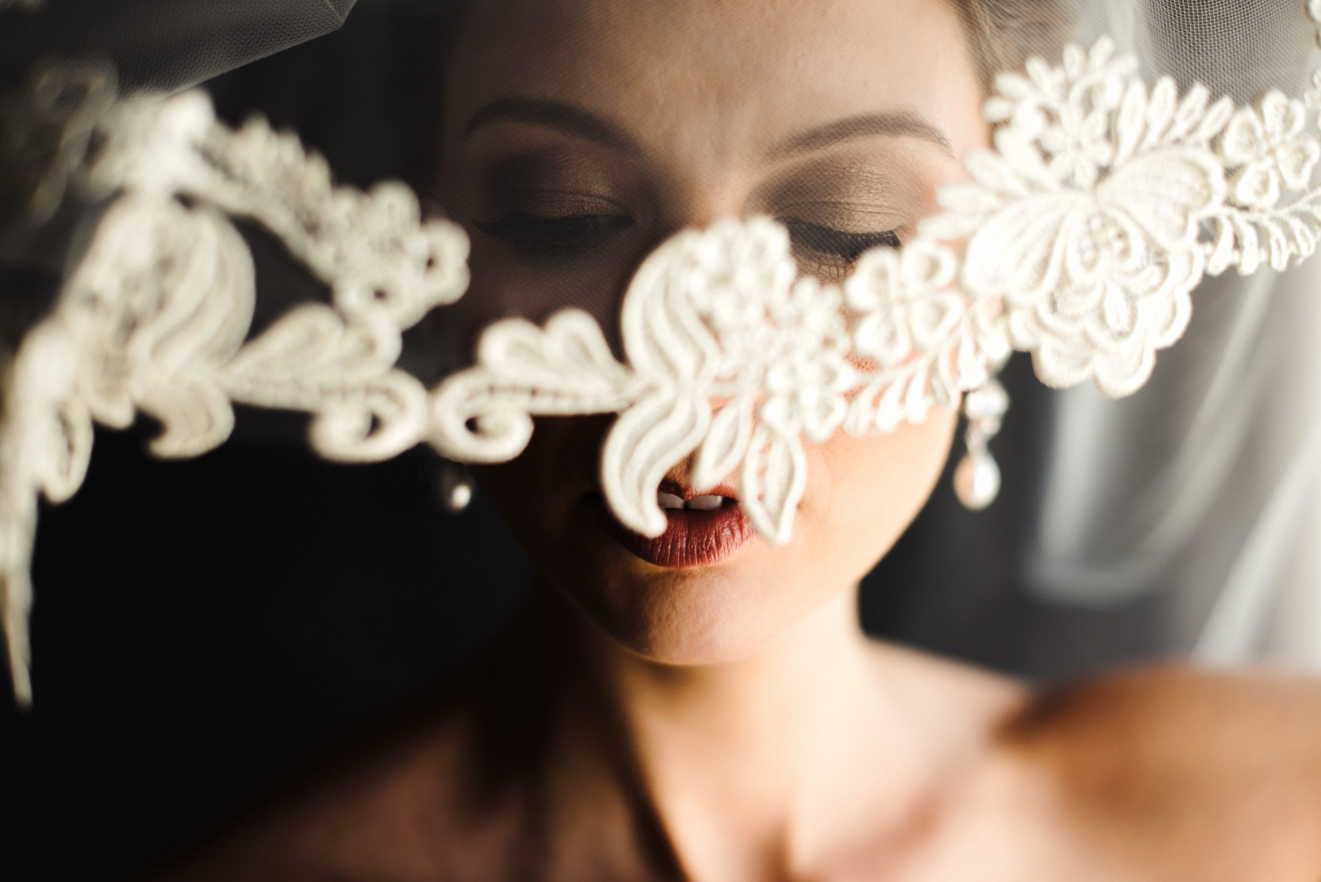 Lace detail on veil detail shot captured by Anchor and Veil Photography
