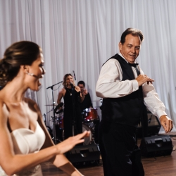 Live band 5 on Sundays at Uptown Charlotte Wedding play as bride and dad dance the night away at a Mint Museum Event