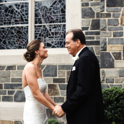 Bride and father embrace in first look captured by Anchor and Veil Photography