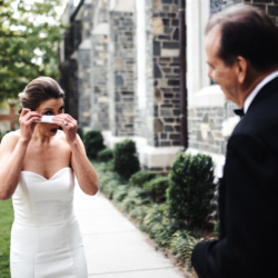 First look between bride and father outside Myers Park Presbyterian Church in Charlotte North Carolina