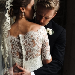 Up close shot of lace detail on bridal gown from Hayden Olivia bridal captured by Anchor and Veil Photography
