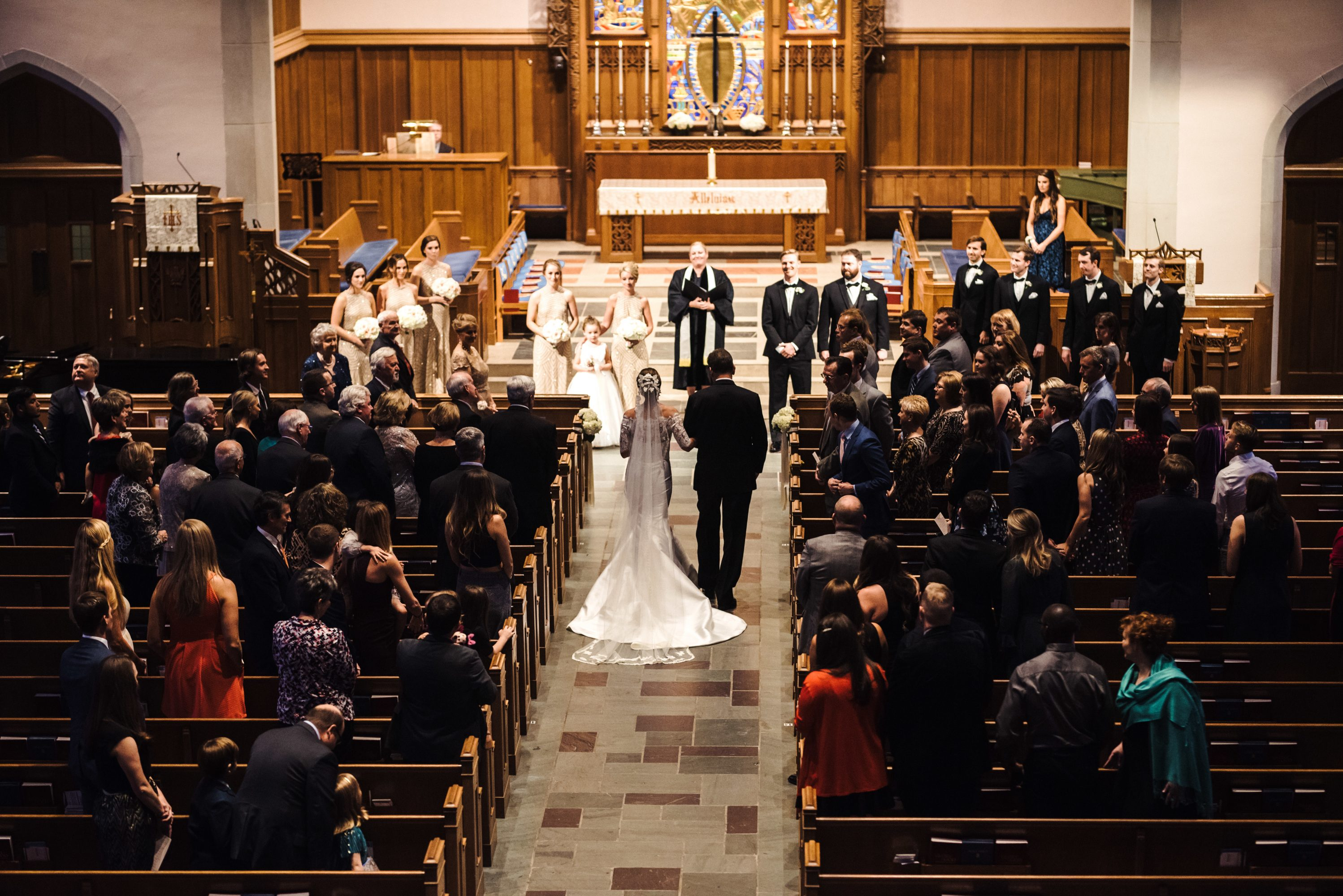 Wedding ceremony held at Myers Park Presbyterian Church in Charlotte North Carolina captured by Anchor and Veil Photography