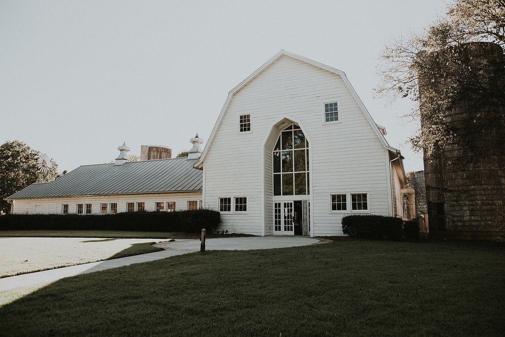 Gorgeous, white Dairy Barn wedding venue in Fort Mill South Carolina
