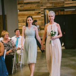 Wedding ceremony at Triple C Barrel Room in Charlotte