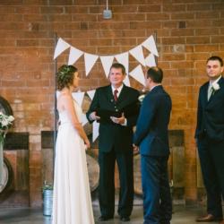 Wedding ceremony at Triple C Barrel Room in Charlotte