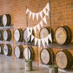 Wedding ceremony setup at Triple C Barrel Room in Charlotte