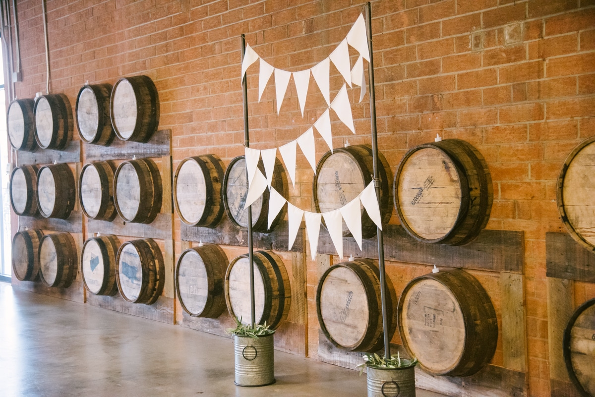 Wedding ceremony setup at Triple C Barrel Room in Charlotte