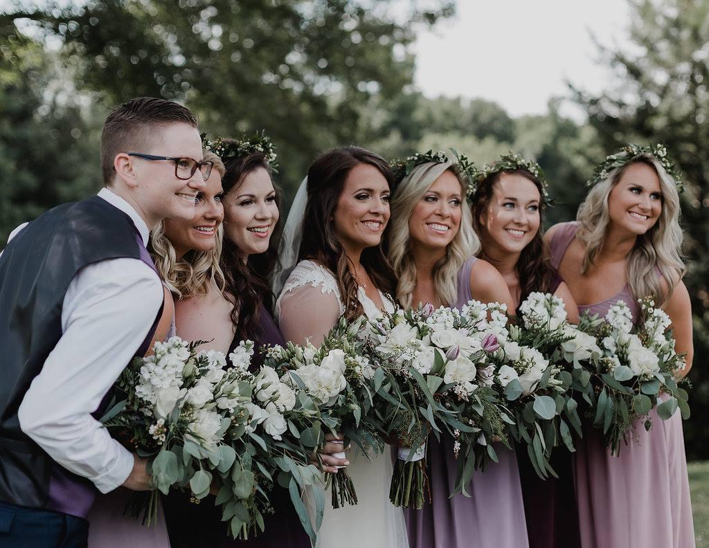 bridesmaids in purple dresses