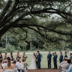 wedding ceremony under the tree with hanging votives at Camellia Gardens