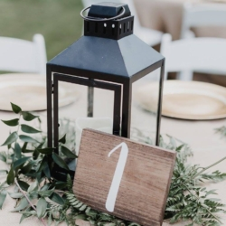 lantern centerpiece with wood table number