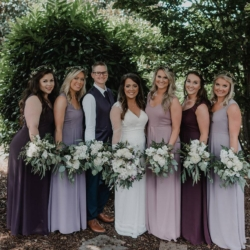 Bridesmaids in shades of purple bridesmaid dresses