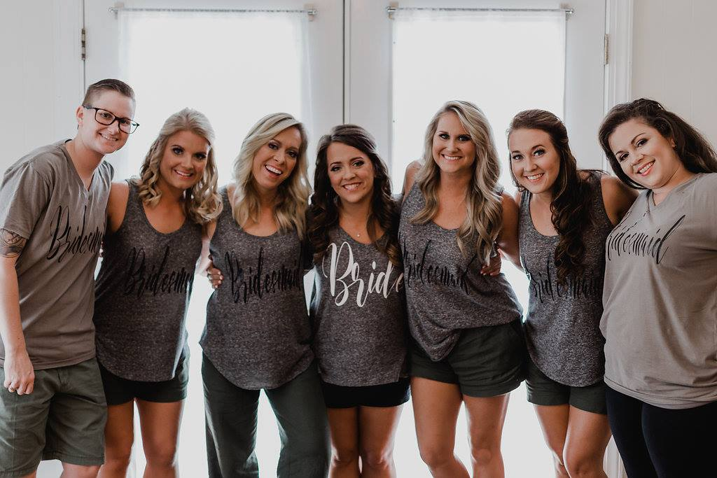 bridesmaids getting ready in custom gray t shirts