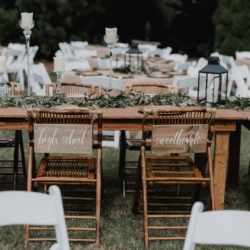 high school sweethearts signs on the back of the head table chairs