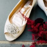 Detail shoe of bridal shoes captured by Cameron Faye Photography