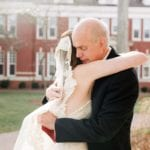 Bride embraces her father before her winter wedding in Uptown Charlotte North Carolina coordinated by Magnificent Moments Weddings