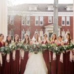 Bridal party captured during winter wedding at Queen's University Belk Chapel