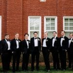 Groom with groomsmen before ceremony at Queen's University Belk Chapel wedding captured by Cameron Faye Photography