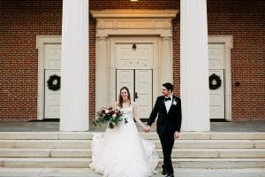 Bride and Groom after ceremony at Belk Chapel at Queens University