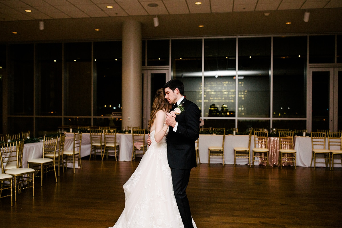 Private last dance after uptown wedding at Mint Museum Uptown with music provided by Split Second Sound