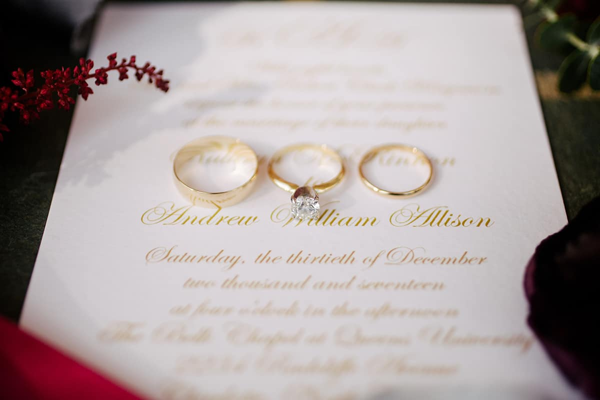 Gold lettered wedding invitation for a winter wedding at Mint Museum Uptown Charlotte
