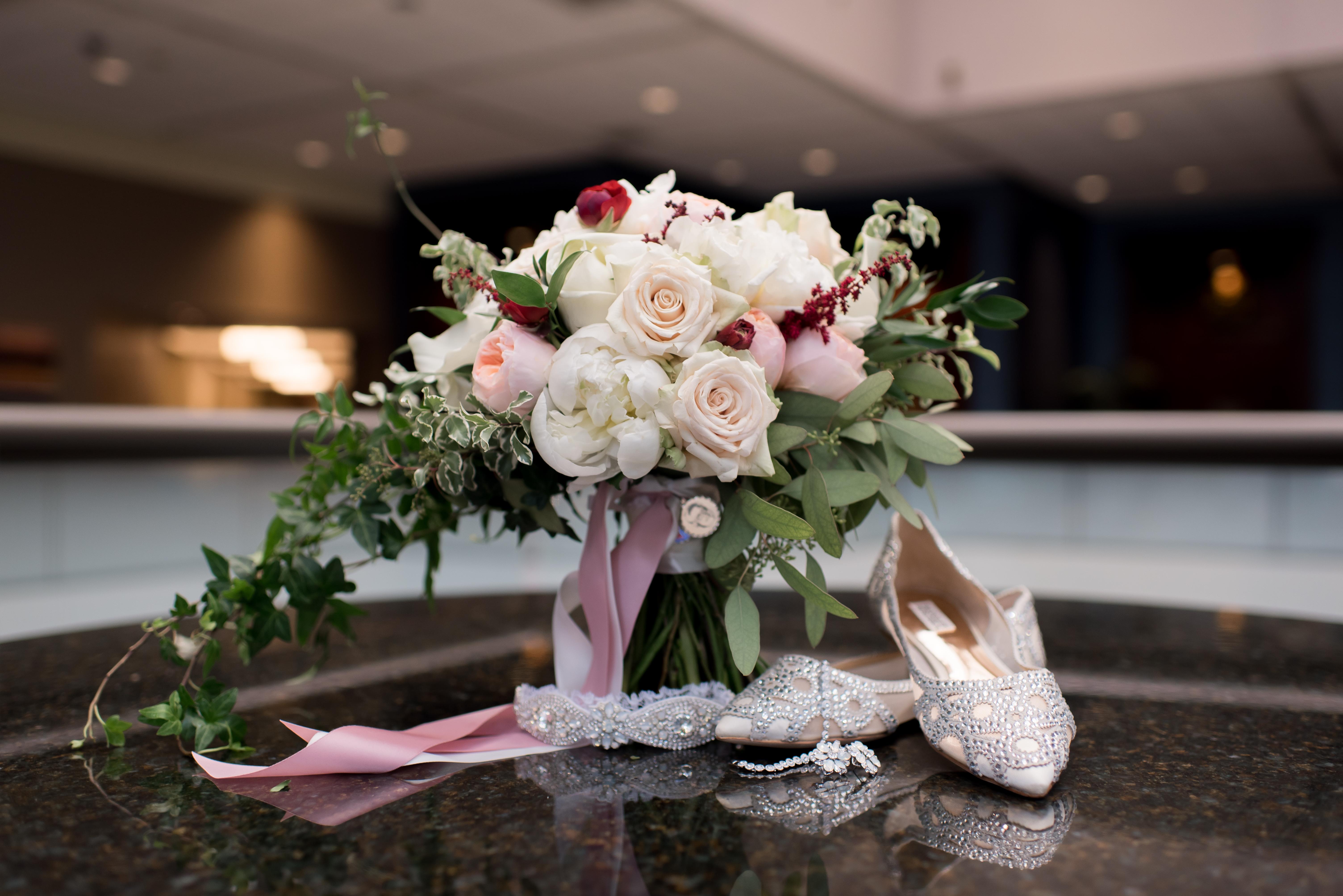 bridal bouquet and shoes