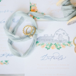 Bridal jewlery detail shop captured by Julia Fay photography with peach and blue accents for a spring wedding at The Dairy Barn in Fort Mill South Carolina