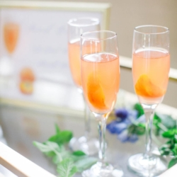 Southern peach Bellini cocktails at Fort Mill's The Diary Barn wedding venue