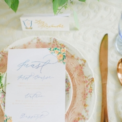 Vintage peach toned china table setting for a peach colored southern wedding at Fort Mill's The Dairy Barn captured by Julia Fay Photography