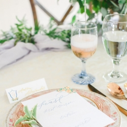 Vintage peach china serve as dinnerware for a southern wedding at The Dairy Barn