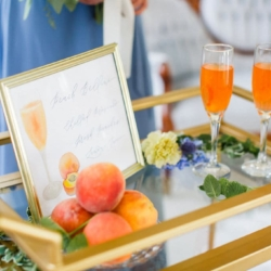 Peach and blue styled wedding with fresh peaches and sweet peach Bellini cocktails designed by Magnificent Moments Weddings