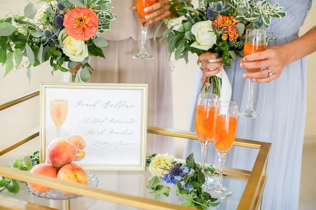 Peach Bellini cocktails at