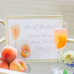 Wedding signature cocktail sign for southern peach bellini